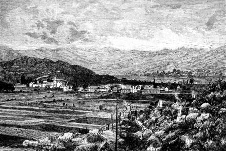 Cetinje, capital of Montenegro, vintage engraved illustration. Journal des Voyages, Travel Journal, (1880-81).