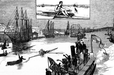 American sports. The regattas, vintage engraved illustration. Journal des Voyage, Travel Journal, (1880-81). 版權商用圖片