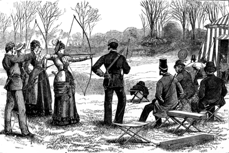 arc: American sports. The game of the arc, vintage engraved illustration. Journal des Voyage, Travel Journal, (1880-81). Stock Photo
