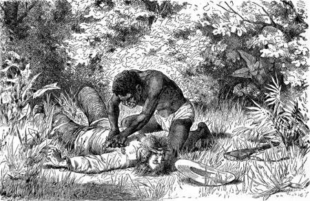 revenge: La venganza del tigre. Yolio apodera del canal y ver a su v�ctima, ilustraci�n de la vendimia grabado. Journal des Voyage, Diario de viaje, (1880-1881).