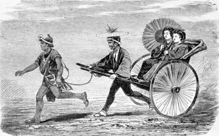religious art: Religious Art in Japan. Jinctissas cars in Jeddo, vintage engraved illustration. Journal des Voyages, Travel Journal, (1880-81).