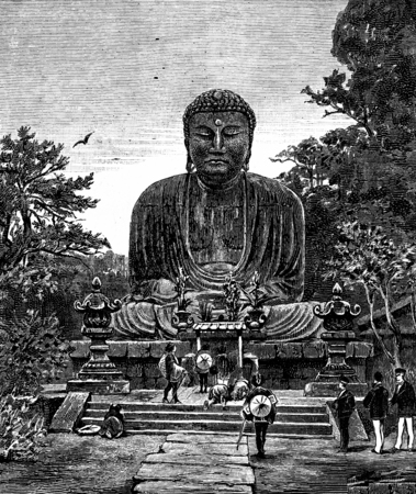 worshiper: Religious Art in Japan. The giant statue of Buddha, vintage engraved illustration. Journal des Voyage, Travel Journal, (1880-81).