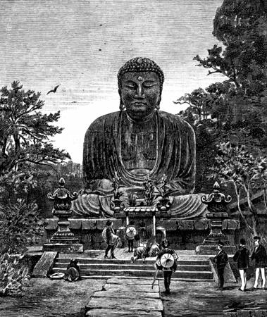 religious art: Religious Art in Japan. The giant statue of Buddha, vintage engraved illustration. Journal des Voyage, Travel Journal, (1880-81).