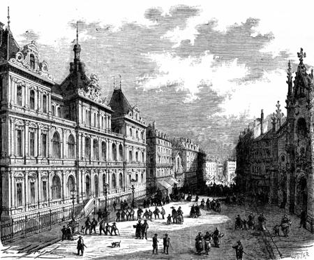 bourse: The picturesque France. The Palais de la Bourse, Lyon, vintage engraved illustration. Journal des Voyage, Travel Journal, (1880-81).
