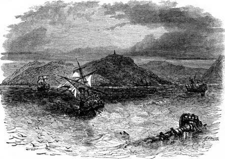 vessels: A naval battle. He took the collision three vessels, vintage engraved illustration. Journal des Voyage, Travel Journal, (1880-81).