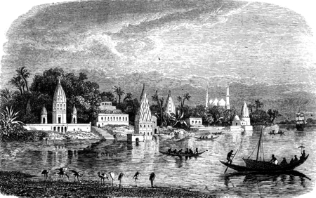 benares: View of Benares, vintage engraved illustration. Journal des Voyage, Travel Journal, (1880-81).