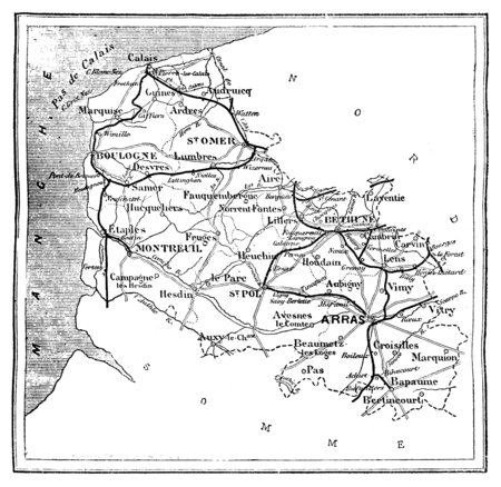 Map of the department of Pas-de-Calais, vintage engraved illustration. Journal des Voyages, Travel Journal, (1879-80).
