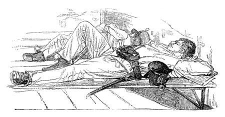 custody: Rest after custody, vintage engraved illustration. Journal des Voyages, Travel Journal, (1879-80). Stock Photo