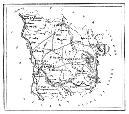 commune: Map of the department of Nievre, vintage engraved illustration. Journal des Voyage, Travel Journal, (1879-80). Stock Photo