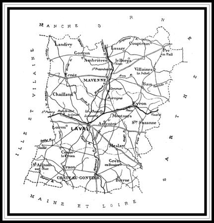 Map of the department of Mayenne, vintage engraved illustration. Journal des Voyages, Travel Journal, (1879-80).