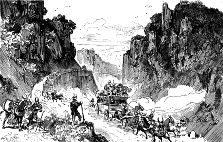 drove: Sierra morena. We drove to the edge of the abyss, vintage engraved illustration. Journal des Voyages, Travel Journal, (1879-80).
