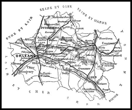 Map of the department of Loiret, vintage engraved illustration. Journal des Voyages, Travel Journal, (1879-80).