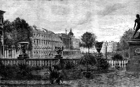 그림 같은 벨기에. Laeken 성, 빈티지 새겨진 된 그림입니다. Journal des Voyage, 여행 저널, (1879 ~ 80) 스톡 콘텐츠