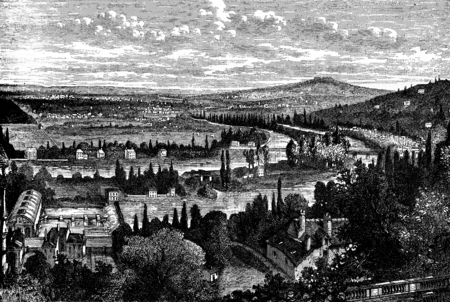 panorama view: Louveciennes. The panorama of the flag of Barry. left view, vintage engraved illustration. Journal des Voyages, Travel Journal, (1880-81). Stock Photo
