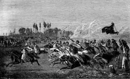 Run a Hungarian. One of them in front of his comrades in length, vintage engraved illustration. Journal des Voyage, Travel Journal, (1880-81). Фото со стока