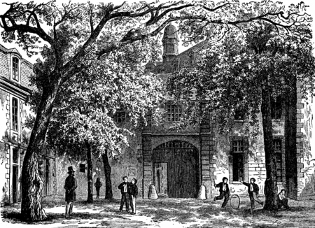 the courtyard: Vendome. Courtyard of the college of Vendome, vintage engraved illustration. Journal des Voyages, Travel Journal, (1880-81).