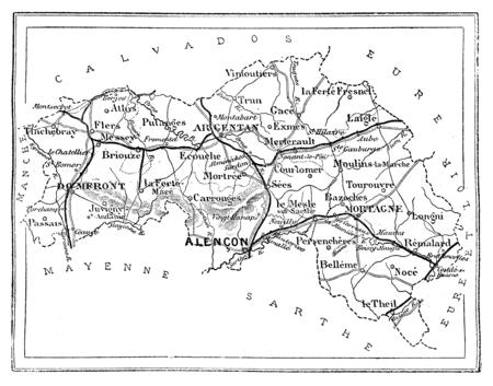 commune: Map of the department of Orne, vintage engraved illustration. Journal des Voyage, Travel Journal, (1880-81).