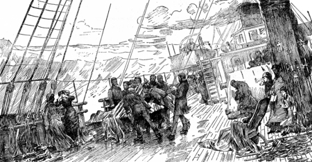 Tables trips. Funeral at sea, after the table of Mr. Bacon, vintage engraved illustration. Journal des Voyages, Travel Journal, (1879-80). Stock Photo