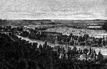 panorama view: Louveciennes. The panorama of the flag of Barry. Right view, vintage engraved illustration. Journal des Voyages, Travel Journal, (1880-81).