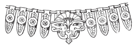 artifact: Fragment of Egyptian necklace with cows head, vintage engraved illustration.