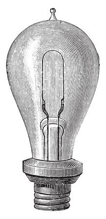 an engraving: Edisons incandescent lamp, vintage engraved illustration. Industrial encyclopedia E.-O. Lami - 1875.