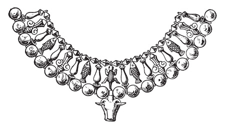 Fragment of Egyptian necklace with cows head, vintage engraved illustration.