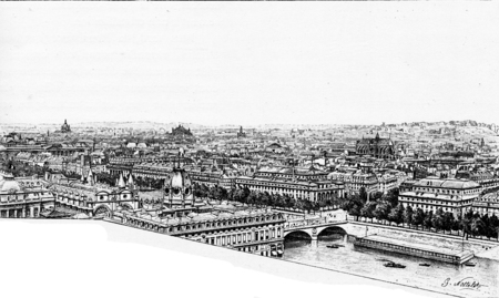 river bank: Panorama of the right bank, alleging Notre Dame. Stock Photo
