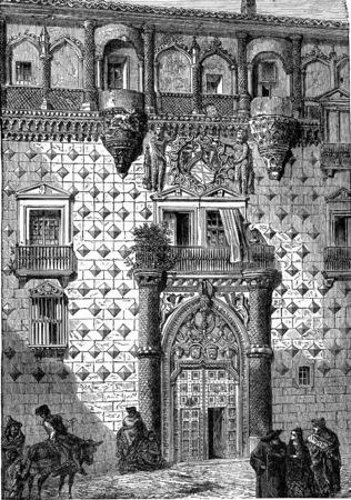 illustration people: Facade of the palace of the Dukes of Infantado, Guadalajara, vintage engraved illustration. Industrial encyclopedia E.-O. Lami - 1875. Stock Photo