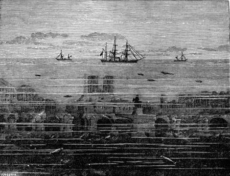 Parijs onder water, vintage gegraveerde illustratie. Aarde voordat de mens - 1886.