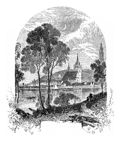 history architecture: Bingen am Rhein, vintage engraved illustration. From Chemin des Ecoliers, 1861. Stock Photo
