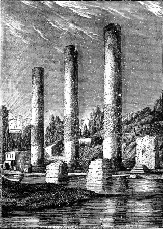 ancient civilization: The Temple of Serapis at Pozzuoli, vintage engraved illustration. Earth before man – 1886.