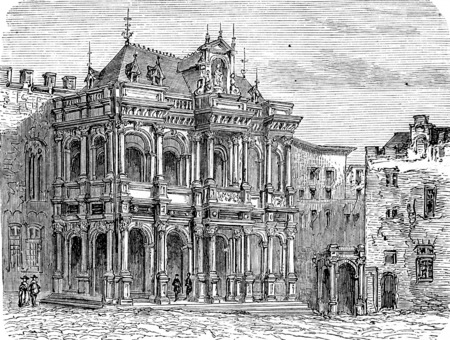 administrative buildings: Cologne City Hall, vintage engraved illustration. From Chemin des Ecoliers, 1861.
