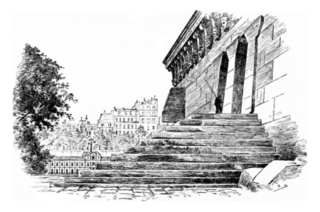 suite: The stairs to the platform and suite of the Samaritan woman, vintage engraved illustration. Paris - Auguste VITU – 1890. Stock Photo