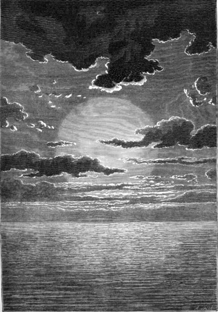 sunrise ocean: Under the immense age of the first sun, water, water everywhere, water always, vintage engraved illustration. Earth before man – 1886.