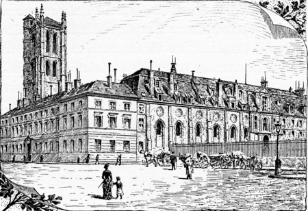 Tour Clovis and remnants of the old cloister, vintage engraved illustration. Paris - Auguste VITU – 1890.