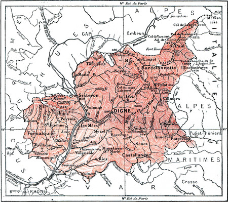 conventions: Map of Department of Basses-Alpes, vintage engraved illustration. Dictionary of words and things - Larive and Fleury - 1895. Stock Photo