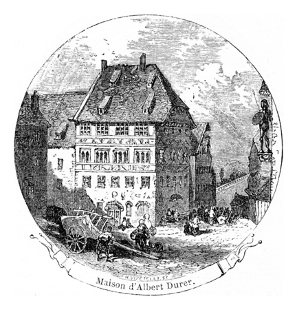 albrecht: Albrecht Durers House, vintage engraved illustration. From Chemin des Ecoliers, 1861.