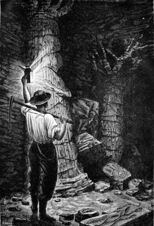 Om zijn diepe mijnen, de mijnwerker ontmoeting met verbazing vicilles begraven bos, vintage gegraveerde illustratie. Aarde voordat de mens - 1886.