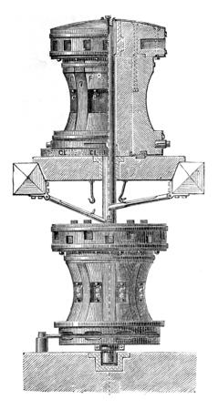 Capstan, vintage engraved illustration. Industrial encyclopedia E.-O. Lami - 1875.