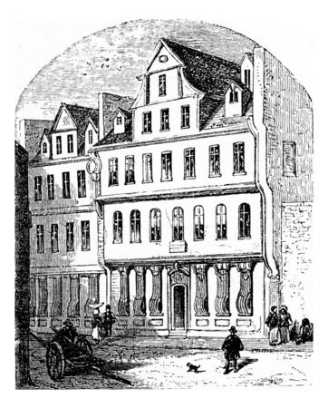 frankfurt germany: The Goethe House, vintage engraved illustration. From Chemin des Ecoliers, 1861.