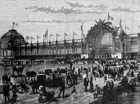 exposition: View of the facade of the Universal Exhibition in Paris in 1878, vintage engraved illustration. Industrial encyclopedia E.-O. Lami - 1875.