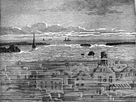 engulfed: Zealand villages engulfed by the irruption of the sea, vintage engraved illustration. Earth before man – 1886.