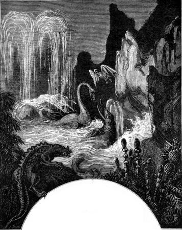 Schepping van de mens, vintage gegraveerde illustratie. Aarde voordat de mens - 1886.