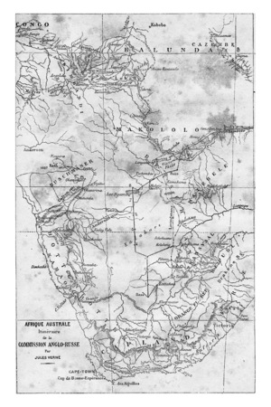 southern africa: Map of Southern Africa, vintage engraved illustration. Jules Verne 3 Russian and 3 English, 1872.