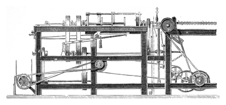 lawson: Machines for manufacturing the rope yarn by Mr Lawson, vintage engraved illustration. Industrial encyclopedia E.-O. Lami - 1875.