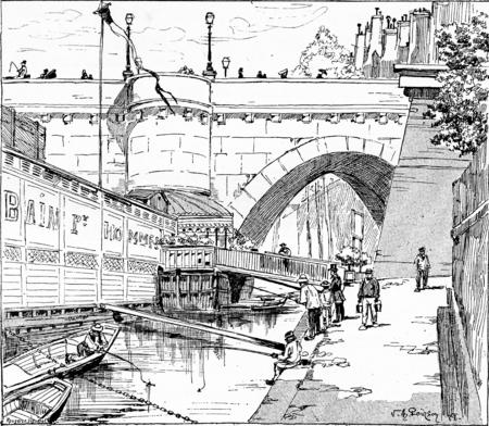 De oever van de Pont Neuf, vintage gegraveerde illustratie. Parijs - Auguste VITU - 1890.