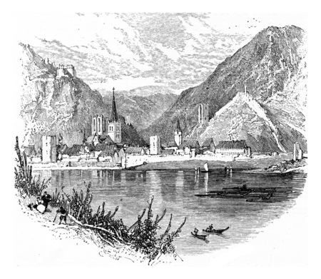 history architecture: Bacharach, vintage engraved illustration. From Chemin des Ecoliers, 1861.