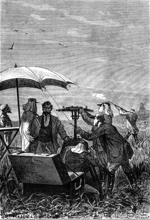 Astronomers will look, vintage engraved illustration. Jules Verne 3 Russian and 3 English, 1872. Imagens - 42943638