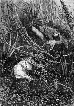 john: Bushman and Sir John slipped under the bushes, vintage engraved illustration. Jules Verne 3 Russian and 3 English, 1872.