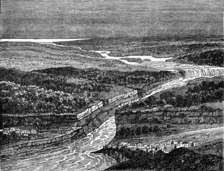 stream of water: View as the crow flies of Niagara Falls, vintage engraved illustration. Earth before man – 1886.